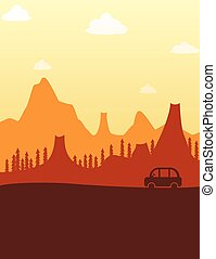 Summer evening road travel poster