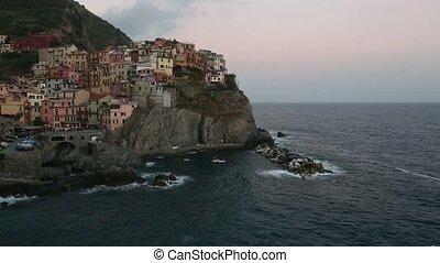 Summer evening twilight Manarola village, Cinque Terre,...