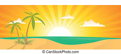 Summer Exotic Beach Landscape Banner - Illustration of a...