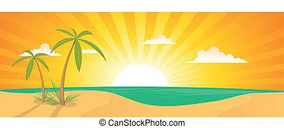 Summer Exotic Beach Landscape Banner - Illustration of a ...