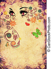 Summer Eyes with Floral Grunge