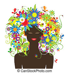 Summer face, woman with floral hairstyle beautiful