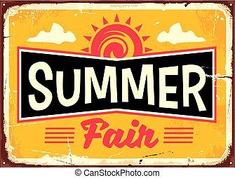 Summer fair retro tin sign concept