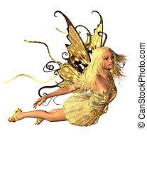 Summer Fairy - 4 - Pretty blonde fairy in summer sunshine,...