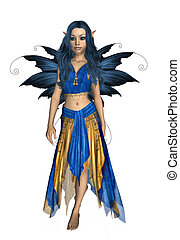 Summer Fairy - Blue and yellow fairy standing up