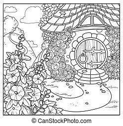 Summer fairy tale home with flowers outlined isolated on a ...