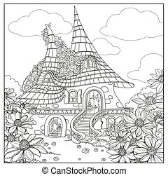 Summer fairytale big home with two roofs twined roses ...