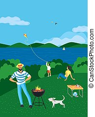 Summer family BBQ picnic on nature flat vector