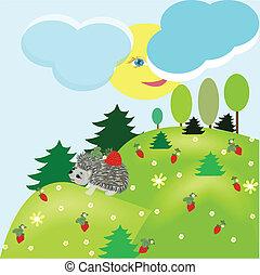 Summer fantasy landscape with hedgehog - summer fantasy ...
