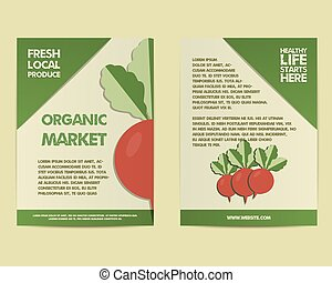 Summer Farm Fresh poster, template or brochure design with radish. Mock up design with shadow. Best for natural shop, organic fairs, markets, eco events and local companies. Vector