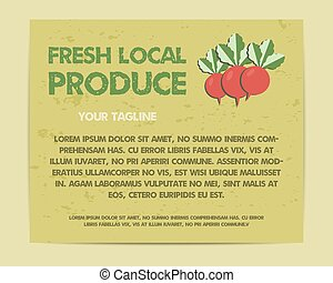 Summer Farm Fresh poster, template or brochure design with radish. Mock up design with shadow. Best for natural shop, organic fairs, eco markets and local companies. Vector