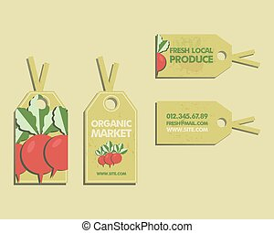Summer Farm Fresh sticker, template or brochure design with radish. Mock up design with shadow. Best for natural shop, organic fairs, eco markets and local companies. Vector