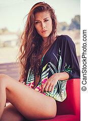 summer fashion girl in tunic and bikini