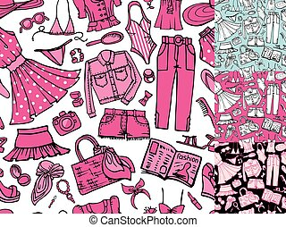 Summer fashion seamless pattern.Woman colored wear - Fashion...