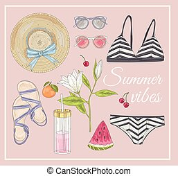 Summer fashion vector accessories