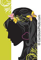 Summer female hairstyle. Banner