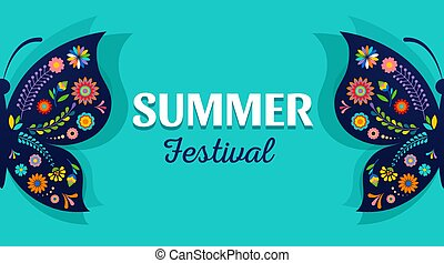Summer festival, fair with patterned butterfly - vector background
