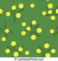Summer field of yellow dandelions seamless pattern