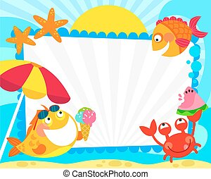 summer fish frame - frame with cartoon fish and summer...