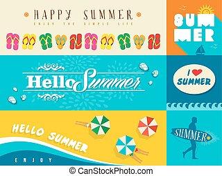Summer flat banner set illustration