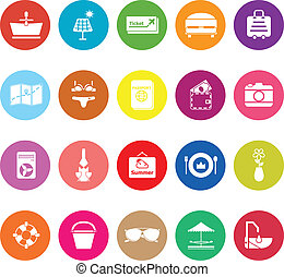 Summer flat icons on white background