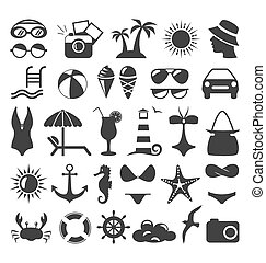 Summer flat icons set isolated on white