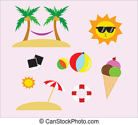 Summer Flat Vector Icon Set