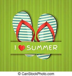 summer., flip-flops., amour, carte
