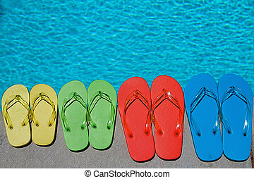 Summer Flipflops - Colored flipflops of a family of four by ...