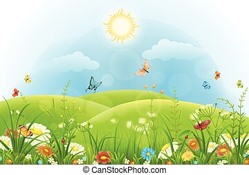 Summer background with green grass, flowers, butterflies, hills and sun