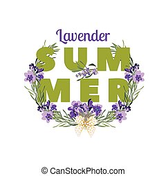 Summer floral background with beautiful lavender flowers on white background. Multicoloured typography greeting card