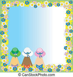Summer floral frame with girls back