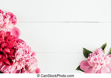 Summer floral frame with pink peonies