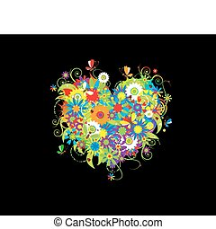 Summer floral heart for your design