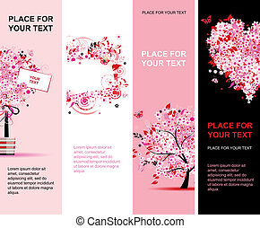 Summer floral pink banners vertical for your design