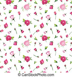 Summer Floral Seamless Pattern with Pink Roses. Botanical Background with Flowers for Fabric Textile, Wallpaper, Wrapping Paper and Decor. Vector illustration