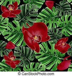 Summer floral vector background. Tropical palm leaves and red orchids flower seamless pattern.