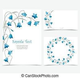 Summer flower campanula - Set vector illustration blue...