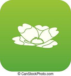 Summer flower icon green vector
