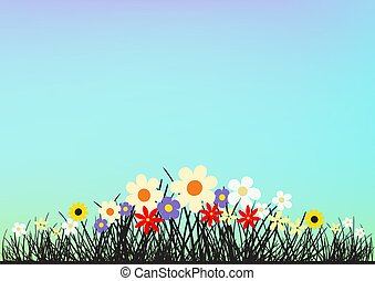 Flowers and grass on blue clear sky backdrop. Spring or summer beautiful nature evening or morning meadow