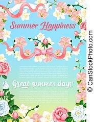Summer flowers bouquet greeting vector poster - Summer...