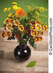 summer flowers bouquet in a vase, c