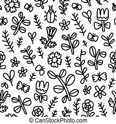 Summer flowers, butterflies and beetles black seamless pattern