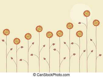 summer flowers - Vector illustration of the sun is going...