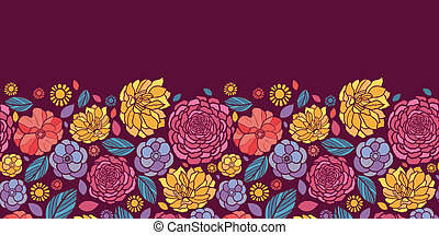 Summer flowers horizontal seamless pattern background border