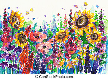 Summer flowers in garden. Picture created with watercolors.
