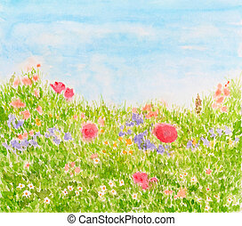 Summer Flowers on Daylight Meadow, Watercolor Hand Drawn and Painted
