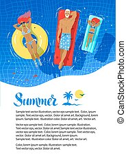 Summer flyer design with happy family