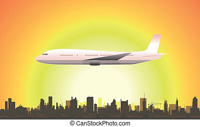 Summer Flying Airplane - Illustration of a flying airplane ...