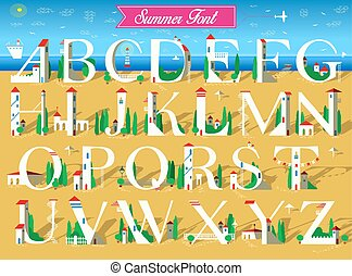Summer Font. White houses on the beach